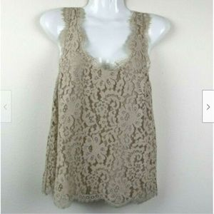 Joie Sleeveless Lace Lined Scoop Neck Blouse